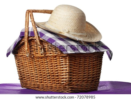 picnic basket with straw hat, white background - stock photo