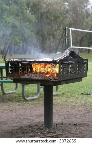picnic bbq grill - stock photo