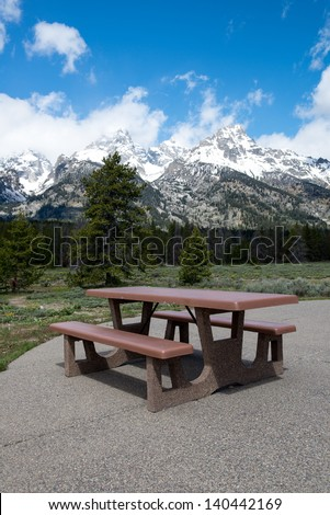 Picnic Bench in Grand Teton National Park - stock photo