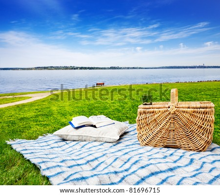 Picnic blanket and basket in the grass with beautiful lake view - stock photo