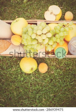 Picnic Food in Wattled Basket with Fresh Bread, Apples and cheese on Green Grass, horizontal image - stock photo