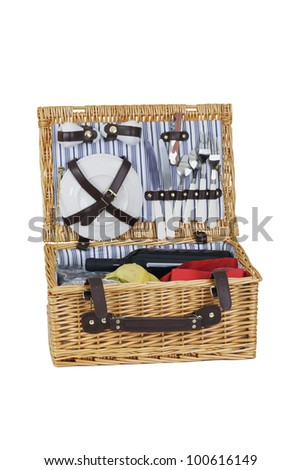 Picnic hamper. - stock photo