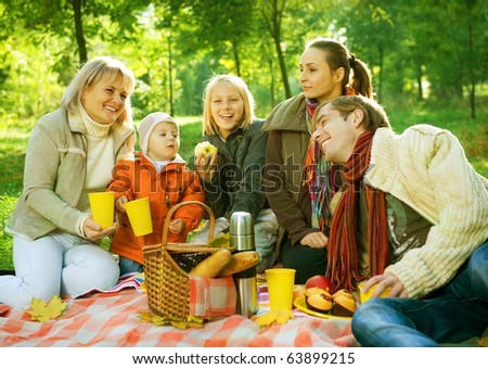 Picnic in Autumn Park.Happy Big Family outdoor - stock photo