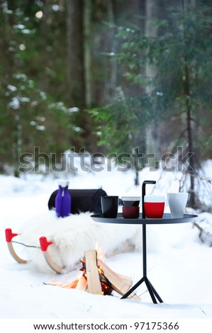 Picnic in the winter forest. Cups, bonfire, sled and rug. - stock photo