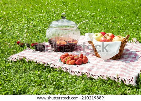 Picnic lunch on the grass outdoors in park on sunny summer day.  - stock photo