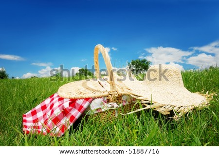 Picnic on Meadow at Sunny Day - stock photo