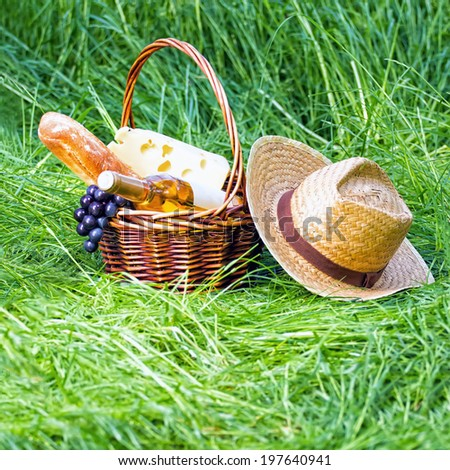 Picnic outdoors. Fresh food and wine in basket on grass - stock photo
