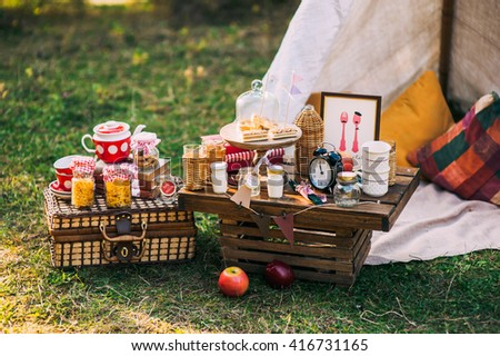 picnic scenery - stock photo