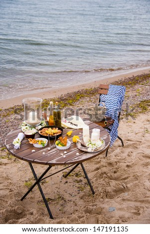 picnic seafood near the sea - stock photo