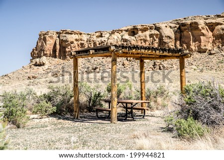 Picnic shelters at Chaco Culture National Historical Park in New Mexico, USA - stock photo