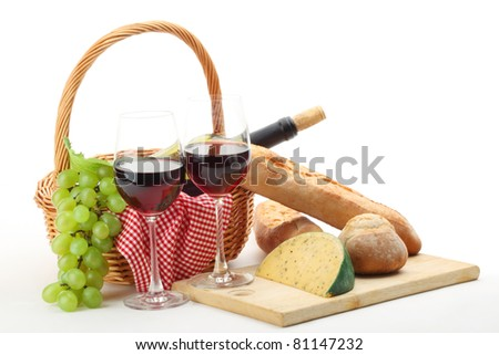 Picnic stuff on white background - stock photo