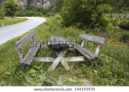 Picnic table at rest area found along an highway - stock photo