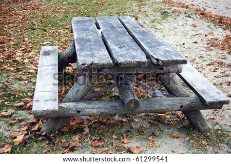 picnic table , forest background