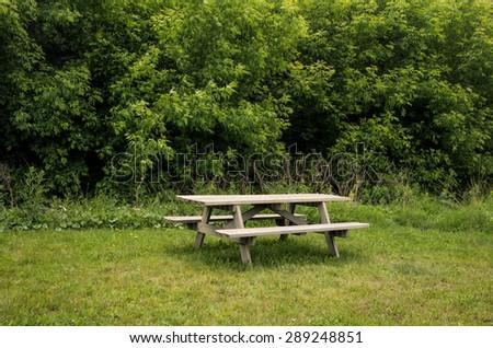 Picnic table in park - stock photo