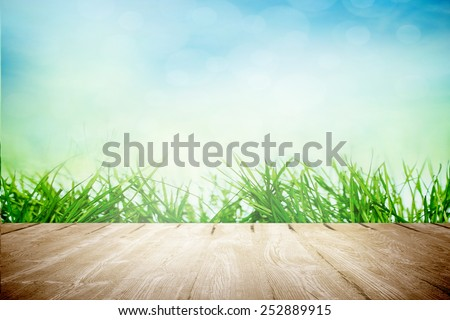 Picnic table on sunny nature in spring and early summer - stock photo