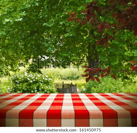 Picnic table template in garden  - stock photo
