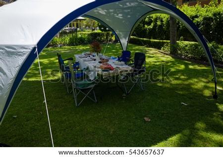 Picnic table under a gazebo tent & Picnic Table Under Gazebo Tent Stock Photo 543657637 - Shutterstock