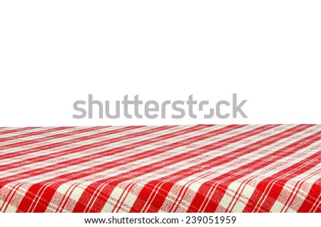 Picnic table with tablecloth isolated on white background with clipping path. - stock photo