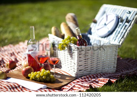 Picnic Time! Fresh food on grass in the garden - stock photo