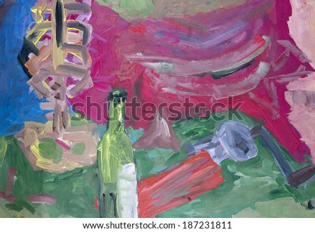 Picnic with a dry wine abstract concept. Handmade art oil naive illustration