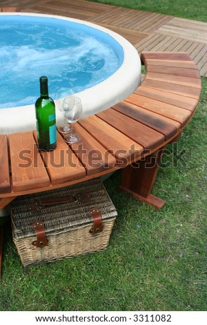picnic with bath - stock photo