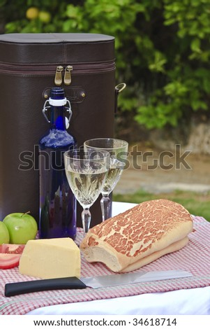 Picnic with wine in lemon tree orchard - stock photo