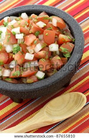 pico de gallo also called salsa fresca, is a fresh, uncooked condiment ...