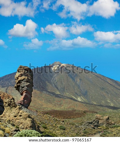 Pico del Teide - highest mountain in Spain, Teide National Park, Tenerife, Canary Islands, Spain, World Heritage Site by UNESCO - stock photo