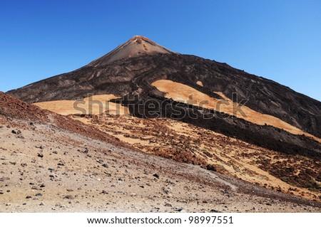 Pico del Teide (3718m) volcano, Teide National Park, Tenerife, Canary Islands, Spain - stock photo
