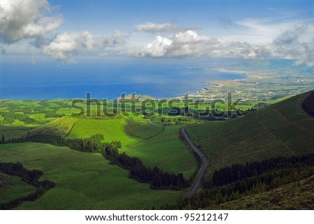 Pico do Carvão viewpoint facing northern coast, pastures and Pau Pique lagoon. Azores, San Miguel, Portugal - stock photo