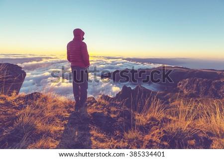 Pico Ruivo and Pico do Areeiro mountain peaks in  Madeira, Portugal - stock photo