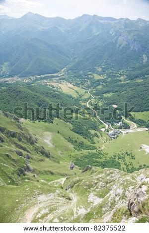 Picos de Europa mountains in Fuente De village Cantabria Spain - stock photo