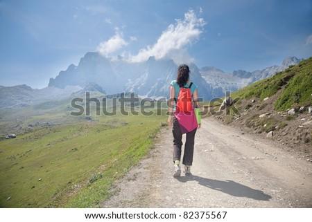 Picos de Europa mountains next to Fuente De village Cantabria Spain - stock photo