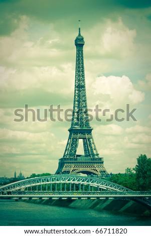 pics of paris in toned image - stock photo