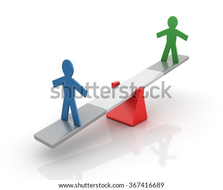 Pictogram People Balancing on a Seesaw - Balance Concept - High Quality 3D Render  - stock photo