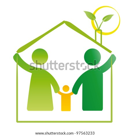 Pictogram showing figures happy family in house - stock photo