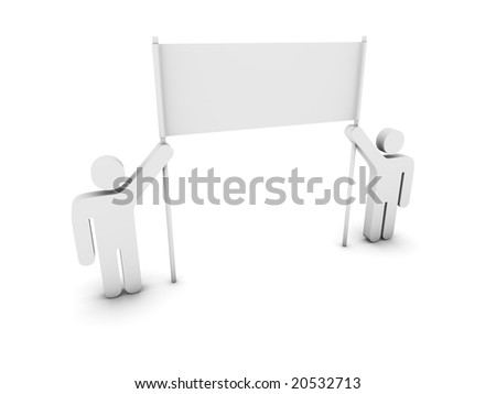 pictograms holding a banner - stock photo