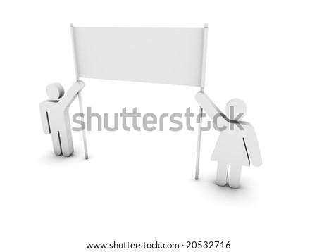 pictograms holding a banner