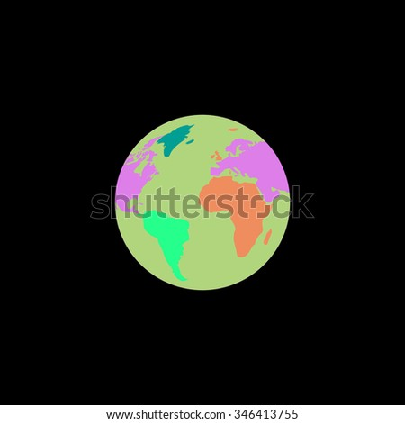Pictograph of globe. Colorful symbol on black background