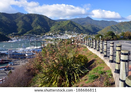 PICTON, NEW ZEALAND - APRIL 19, 2014: Picton Marina and Town in the Marlborough Sounds viewed from Queen Charlotte Drive. - stock photo