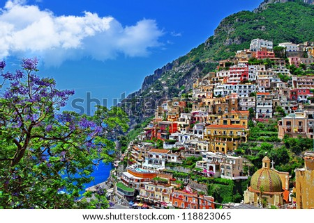 pictorial Amalfitana coast - Positano - stock photo