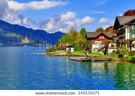 pictorial austrian lakes- st.Wolfgang - stock photo