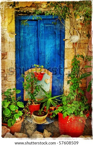 pictorial details of Greece - old door - retro styled picture - stock photo