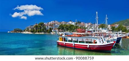 pictorial harbors of small greek islands - Skopelos - stock photo