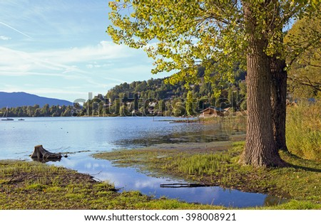 pictorial lake shore rottach-egern, lake tegernsee, bavaria - stock photo