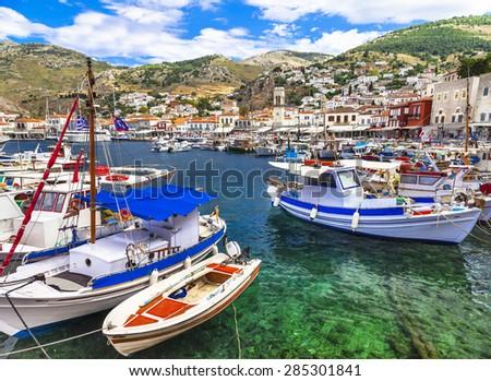 pictorial port of Hydra island, Greece - stock photo