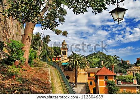 pictorial Portofino - luxury village of Ligurian coast, Italy - stock photo