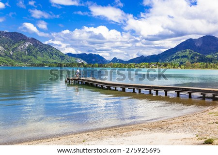 pictorial St Wolfgang lake in Austria  - stock photo