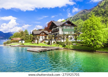 pictorial St Wolfgang lake in Austria with crystal waters - stock photo