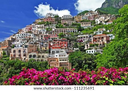pictorial sunny Italy series - beautiful Positano - stock photo